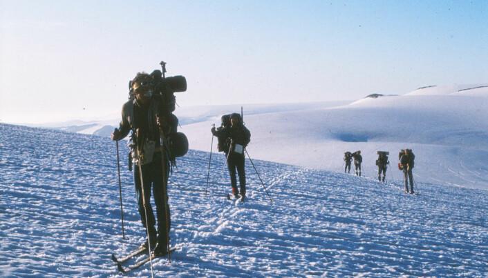 Mange velger å gå Jostedalsbreen om sommeren, som denne gjengen gjorde i august 1981. Da med tau, som sikkerhet med tanke på bresprekker.
