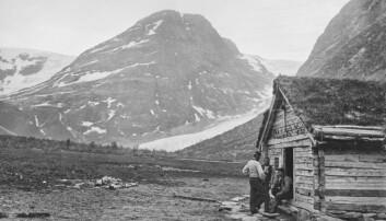 Pittoreske Bødalssætra fotografert ca. 1872, den gangen det gikk an å spasere rett opp på Bødalsbreen.
